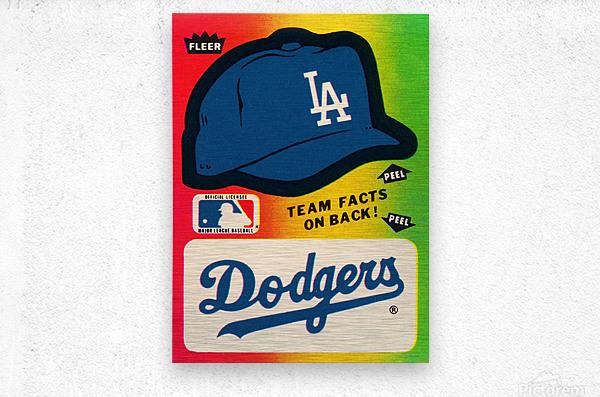 1983 fleer baseball stickers la dodgers ballcap art  Metal print