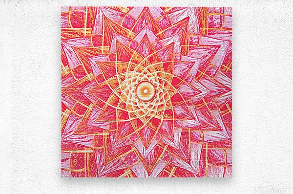 Red Flower Mandala Handdrawing   Metal print