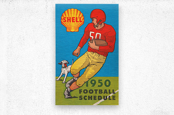 1950 shell oil football schedule poster  Metal print
