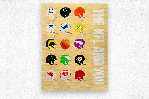 1963 vintage nfl helmets reproduction art  Metal print