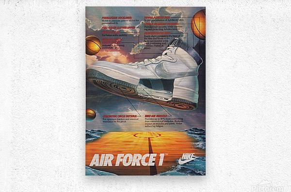 1984 retro nike air force 1 shoe ad reproduction print  Metal print