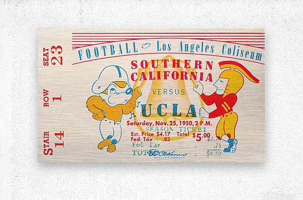 1950 usc ucla los angeles la coliseum college football sports art  Metal print