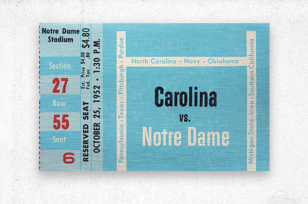 1952 north carolina tar heels notre dame irish college football sports ticket art south bend indiana  Metal print