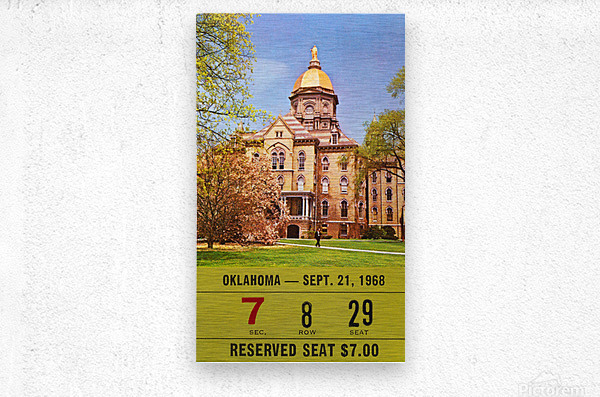 1968 oklahoma sooners notre dame college football south bend indiana sports tickets wall art  Metal print