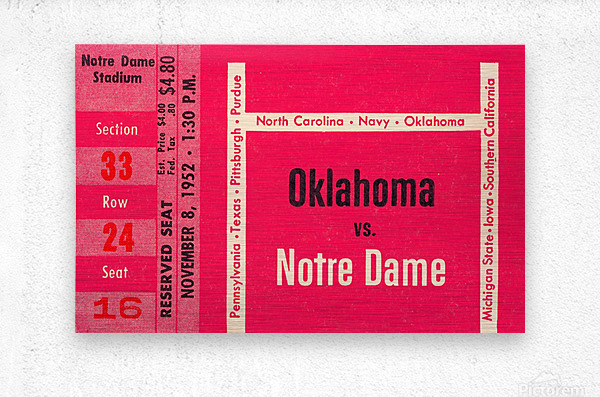 1952 Oklahoma vs. Notre Dame 1st National TV Game  Metal print