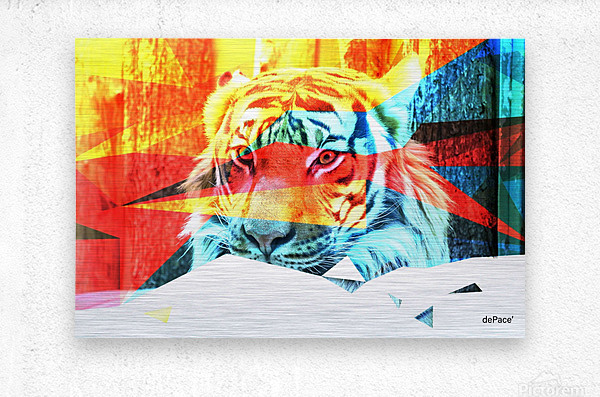 TIGER IN ABSTRACT FORM  Metal print