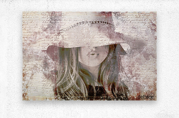 Lovely Girl with Hat on Vintage paper  Metal print
