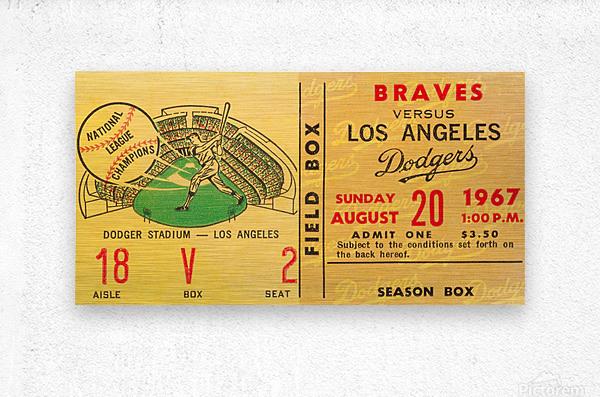 1967 la dodgers atlanta braves baseball sports ticket art   Metal print