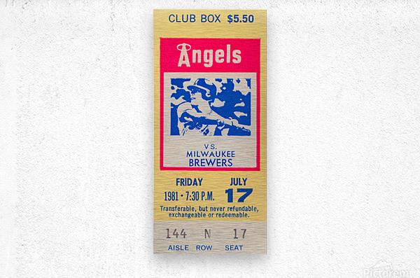 1981 california angels baseball ticket stub sports wall art  Metal print