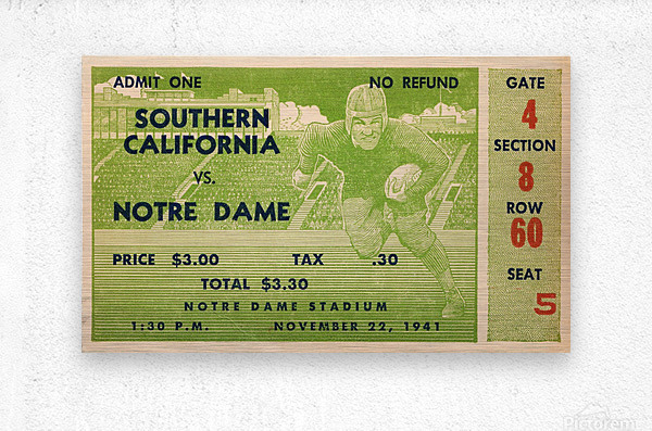 1941 usc notre dame football ticket wall art sports gift ideas south bend indiana  Metal print