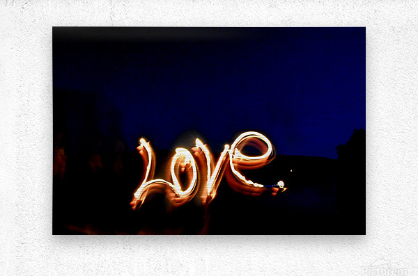 Love lights sculpture   Metal print