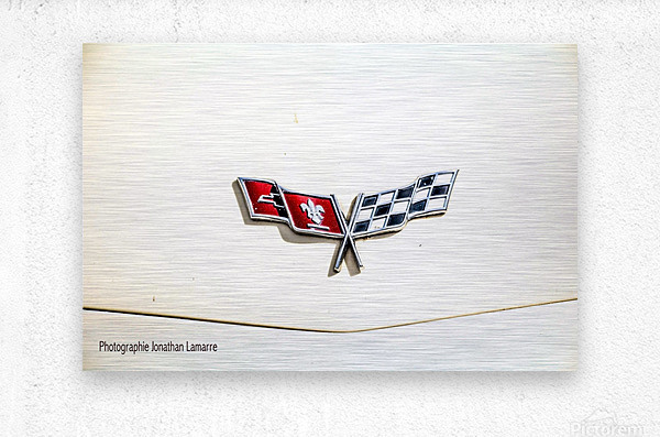 Corvette logo antique car   Metal print