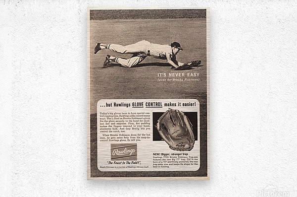 1963 brooks robinson rawlings baseball glove ad  Metal print