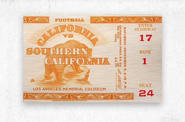 1938 cal bears usc trojans football ticket stub art la coliseum  Metal print