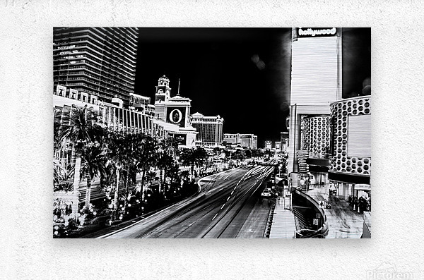 Las Vegas Night Shot B&W  Metal print