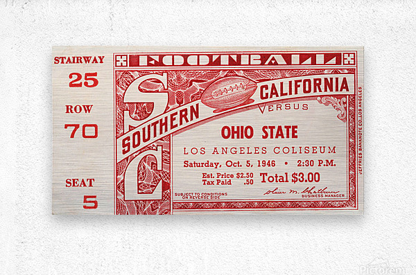1946 usc ohio state buckeyes football ticket wall art sports gift  Metal print
