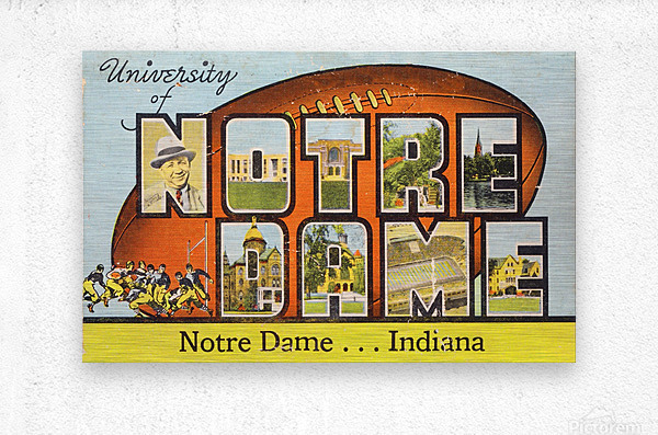 1954 notre dame football south bend art  Metal print