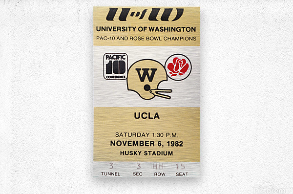 1982 uw huskies washington ucla football ticket stub canvas husky stadium seattle ticket  Metal print