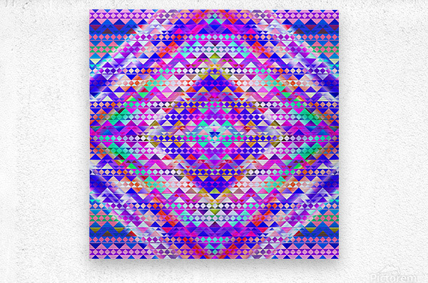 Mayan Pattern Blue  Metal print