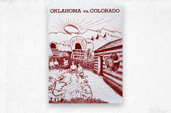 1954 oklahoma sooners colorado buffaloes football program canvas artwork  Metal print