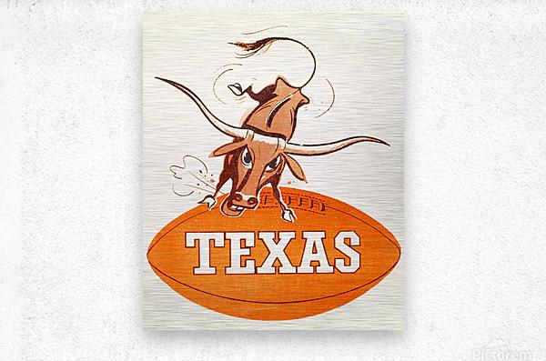 1957 texas longhorns vintage football art  Metal print