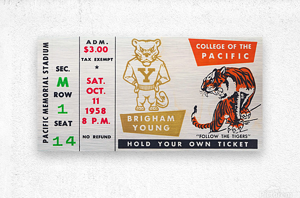 1958 college of the pacific brigham young football ticket art  Metal print