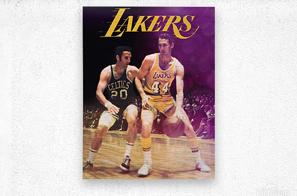 1969 los angeles la lakers jerry west poster  Metal print