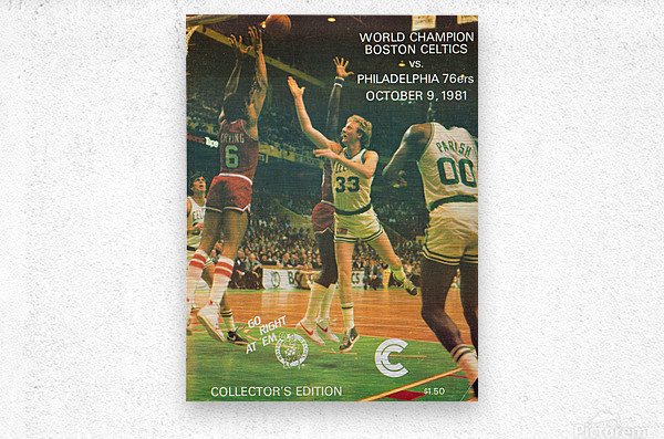 1981 boston celtics philadelphia 76ers larry bird art  Metal print