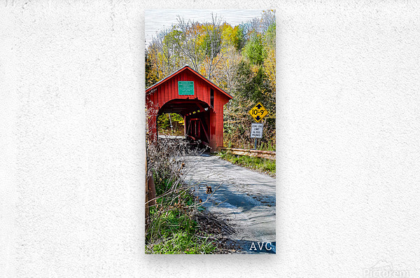 Slaughterhouse Bridge Northfield VT-- Autumn  Metal print