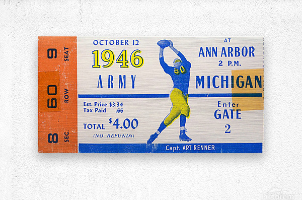 1946 michigan army ann arbor college football ticket art  Metal print