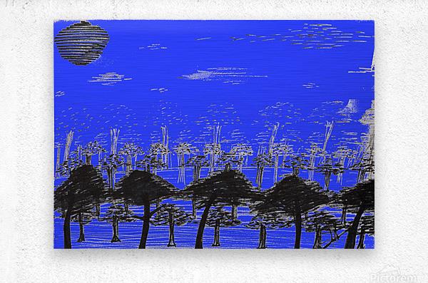 Trees vs sun blue  Metal print