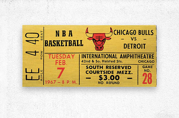 1967 Chicago Bulls 1st Season Ticket Art  Metal print