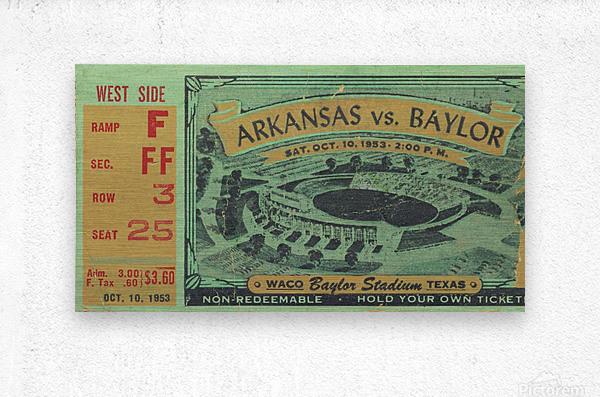 1953 arkansas baylor football ticket wall art  Metal print