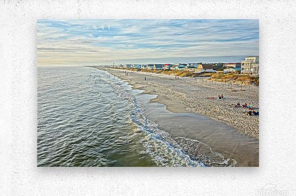 Oak Island Pier View2   Metal print