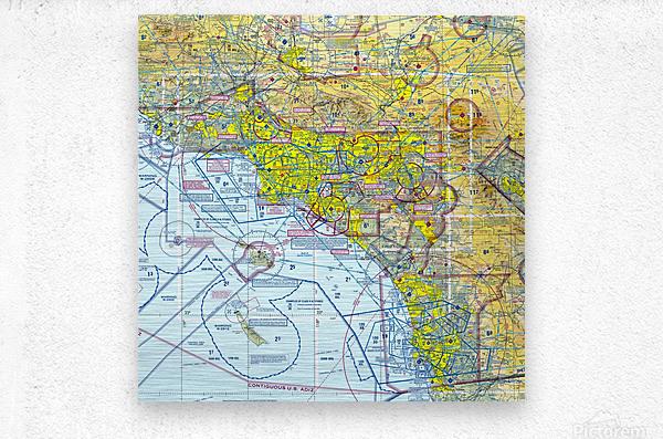 LA & San Diego Aeronautical Wall Art  Metal print