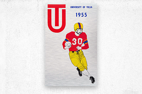 1955 university of tulsa football poster  Metal print