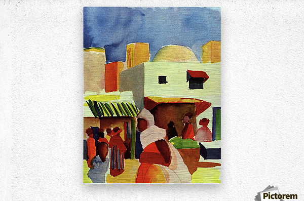 Market in Algier by Macke  Impression metal