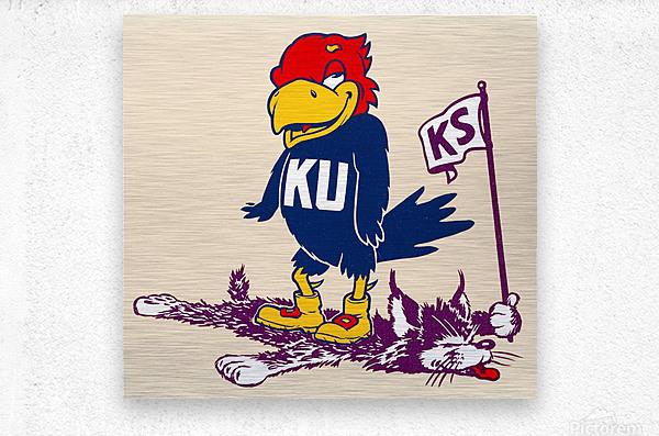 Vintage Kansas Jayhawk Standing Over K-State Wildcat Art  Metal print