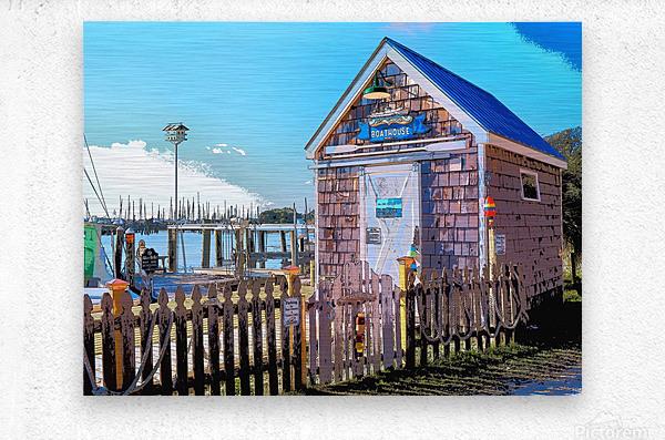 Yacht Basin boathouse  Metal print