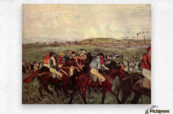 Men s riders before the start by Degas  Metal print