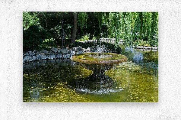 Refreshing Summer - the Little Fisherman Fountain Cheerfully Splashing in the Sunshine  Metal print