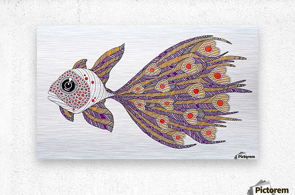 heart fish  Metal print