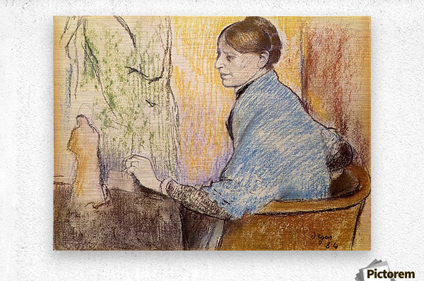 Mme Henri Rouart before a  statue by Degas  Metal print