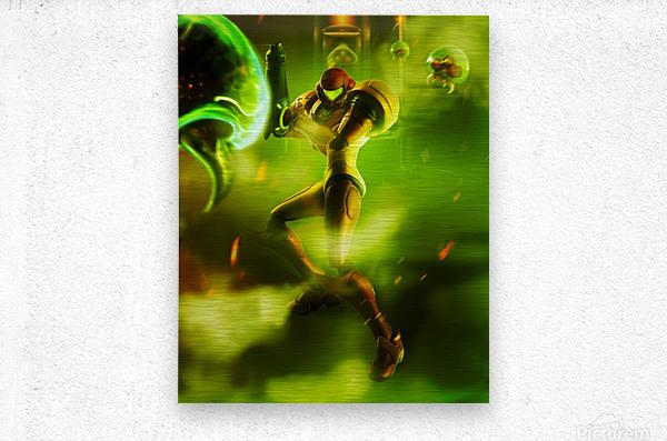 Samus Aran Super Metroid  Metal print