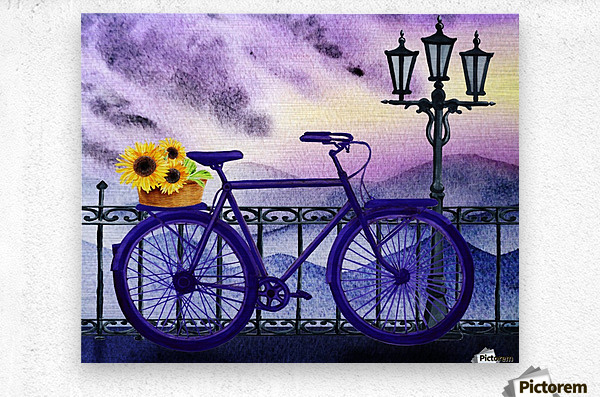 Bicycle And Sunflowers  Metal print