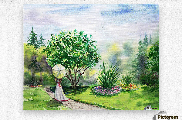 Strolling In The Garden  Metal print