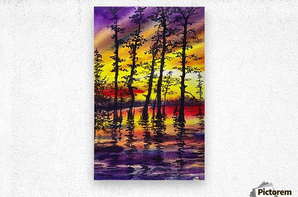 Bright Sunset Through The Trees  Metal print