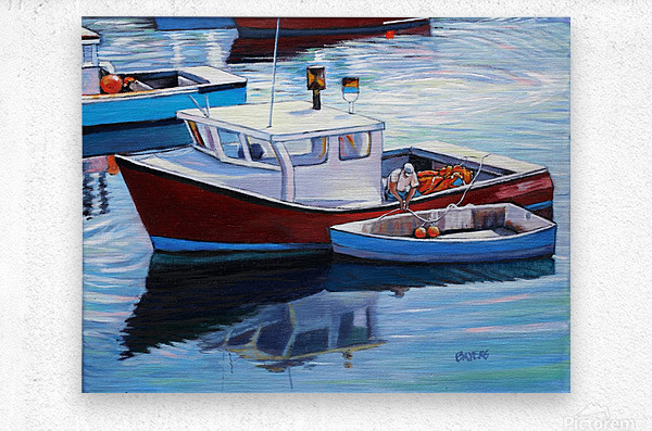 Tying Up Dinghy in Rockport MS  Metal print