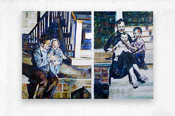 Louisiana father and Mother at the Stairs Diptych with Vintage Recipe Collage  Metal print