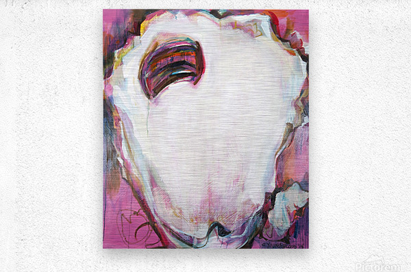 Large Louisiana Oyster with Hot Pink  Metal print